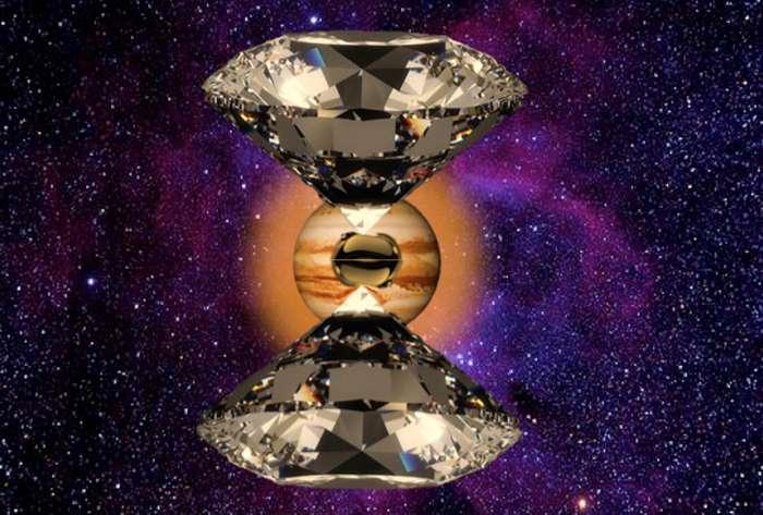 Une vue d'artiste des expériences sur le cœur de Jupiter avec une enclume de diamants. © Mohamed Zaghoo, Harvard SEAS