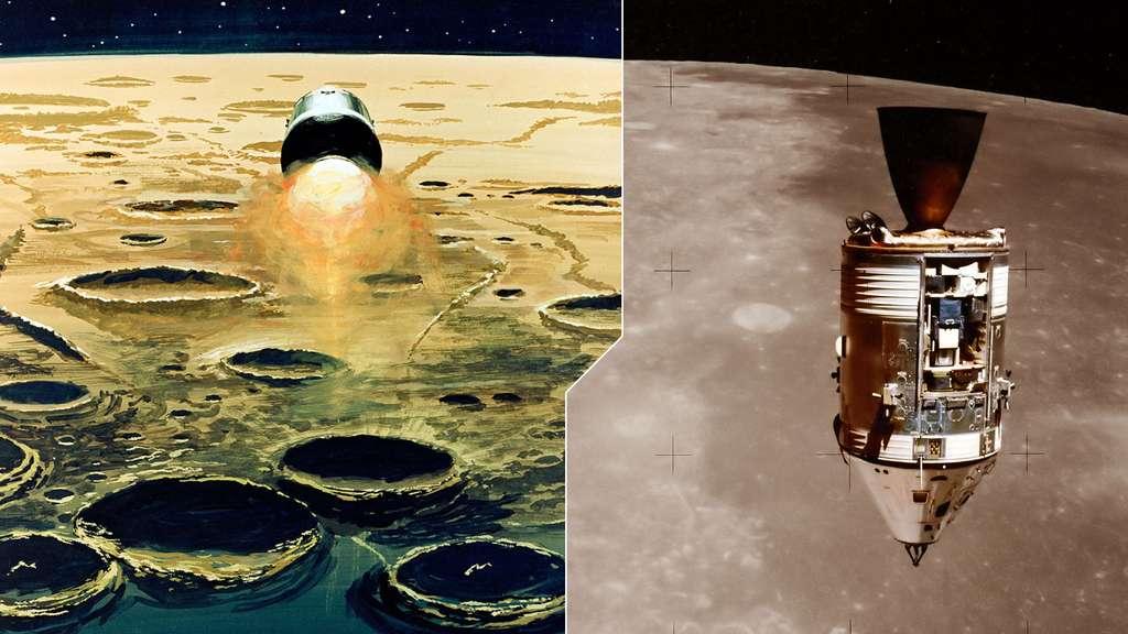 Le module lunaire survolant la Lune