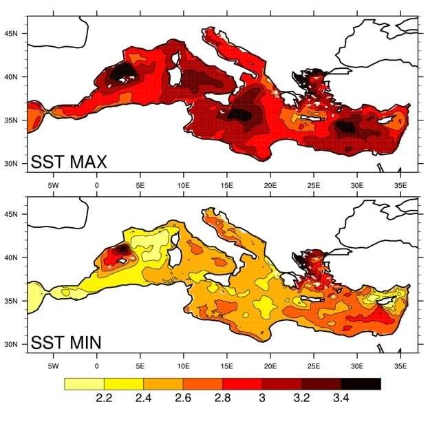 Cartes des anomalies minimales et maximales de température de surface prévues par l'ensemble de simulations à la fin du XXIe siècle (2070-2099) en comparaison avec la période 1961-1990. © Climate Dynamics