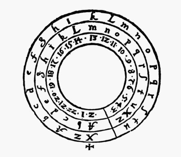 Exemple de rotules utilisées pour crypter des messages secrets (Steganographia, Trithème, Cologne, 1635). © DP