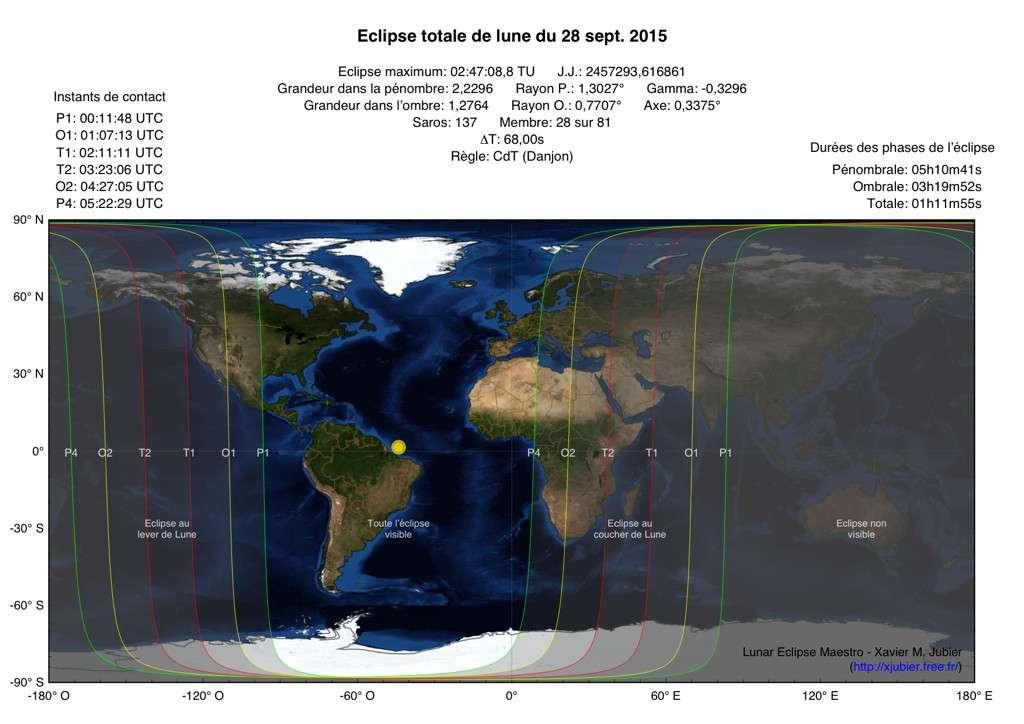 Carte de visibilité de l'éclipse totale de la super Lune du 27-28 septembre 2015. © Xavier M. Jubier