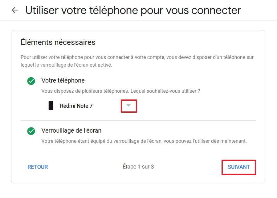 Définissez le téléphone qui va se substituer à votre mot de passe. © Google