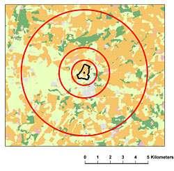 Voici une carte d'occupation des sols issue de Land Cover Map 2000. A chaque parcelle de couleur peuvent être associés un type de couvert végétal, un paysage et une activité agricole. La zone d'inventaire des papillons est en noire. Les cercles rouges montrent les échelles d'analyse du paysage dans un rayon de 5 kilomètres. © Centre for Ecology & Hydrology