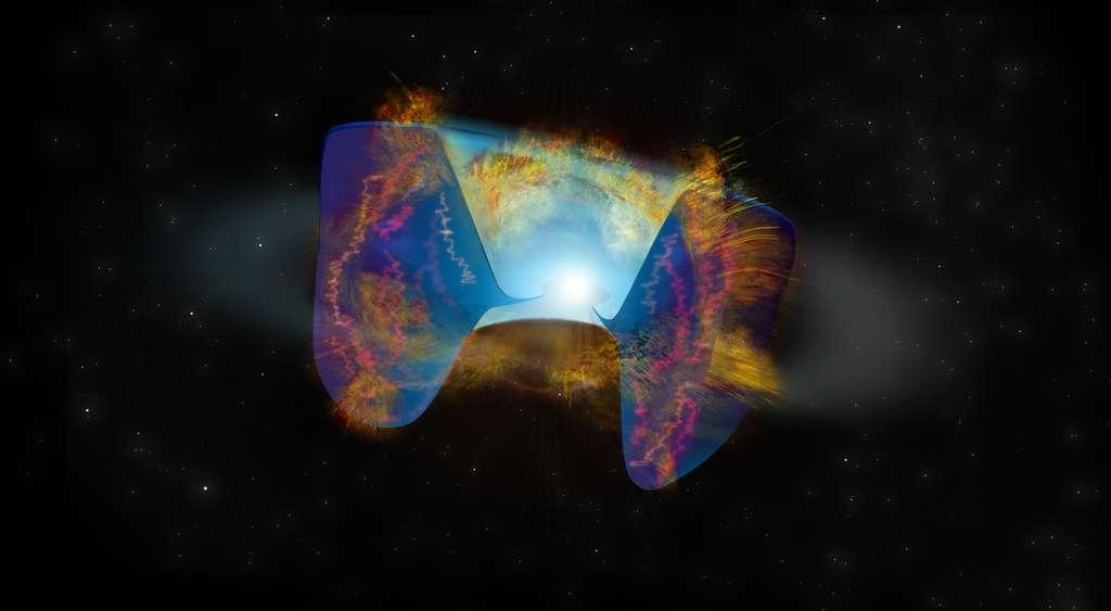 Les débris en mouvement rapide d'une explosion de supernova déclenchée par une collision stellaire s'écrasent sur le gaz rejeté plus tôt qui a formé une sorte de tore, et les ondes de chocs résultantes y provoquent une émission radio lumineuse vue par le VLA. © Bill Saxton, NRAO/AUI/NSF