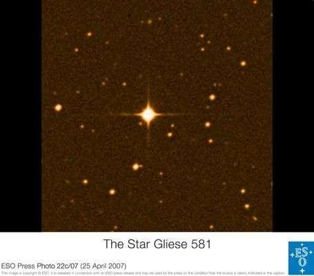 L'étoile Gliese 581. Crédit ESO.