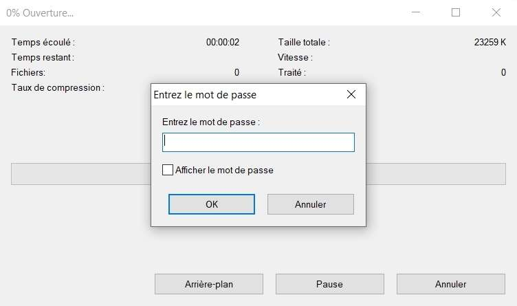 Décompression d'une archive protégée par mot de passe. © 7-Zip