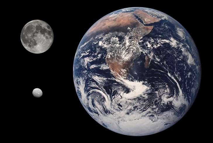Sur ce photomontage, les tailles respectives de la Terre, de la Lune et de Cérès, en bas à gauche. © CWitte, Wikipedia, Domaine public