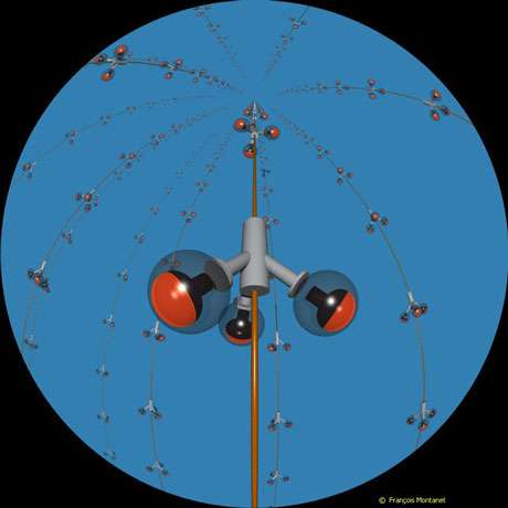 """Représentation en images virtuelles, vue """"fish-eye"""", du détecteur sous-marin """"Antares"""". Ce télescope à neutrinos européen est installé par 2400 mètres de fond à 10 milles nautiques au sud de l'île de Porquerolles. Douze lignes de 400 mètres de long portant chacune 75 capteurs spéciaux (photomultiplicateurs) traqueront l'infime trace lumineuse laissée dans l'eau par un """"muon"""", particule chargée, issue de la rencontre rarissisme d'un atome de matière et d'un neutrino. Les chercheurs espèrent par ce procédé déduire la direction d'où proviennent les neutrinos. Une information qui permettrait d'en identifier la source : cataclysme cosmique ou matière nouvelle inconnue. © CNRS Photothèque/IN2P3 - Montanet François - Reproduction et utilisation interdites"""