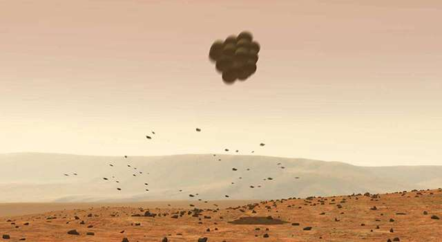 Au moment de leur atterrissage, les rovers étaient enveloppés d'airbags afin de rebondir en douceur sur le sol martien. © Nasa, JPL-Caltech