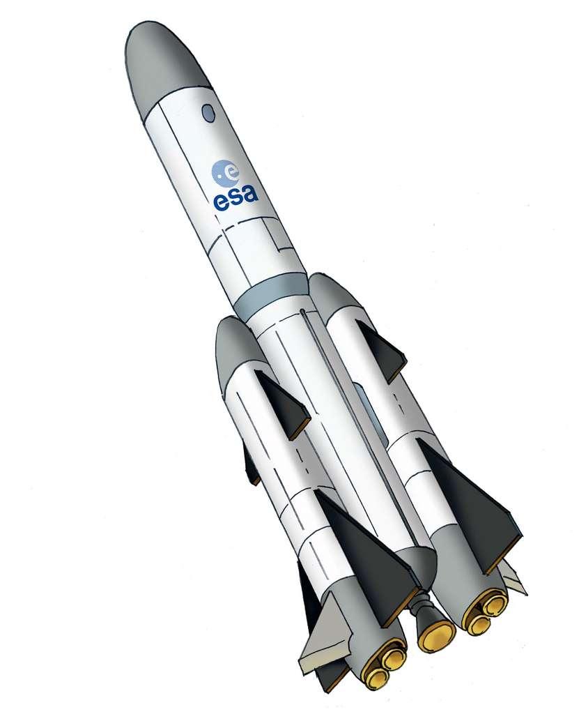 Projet de lanceur partiellement réutilisable de l'Agence spatiale européenne, aujourd'hui abandonné (FLPP, 2004). © Esa