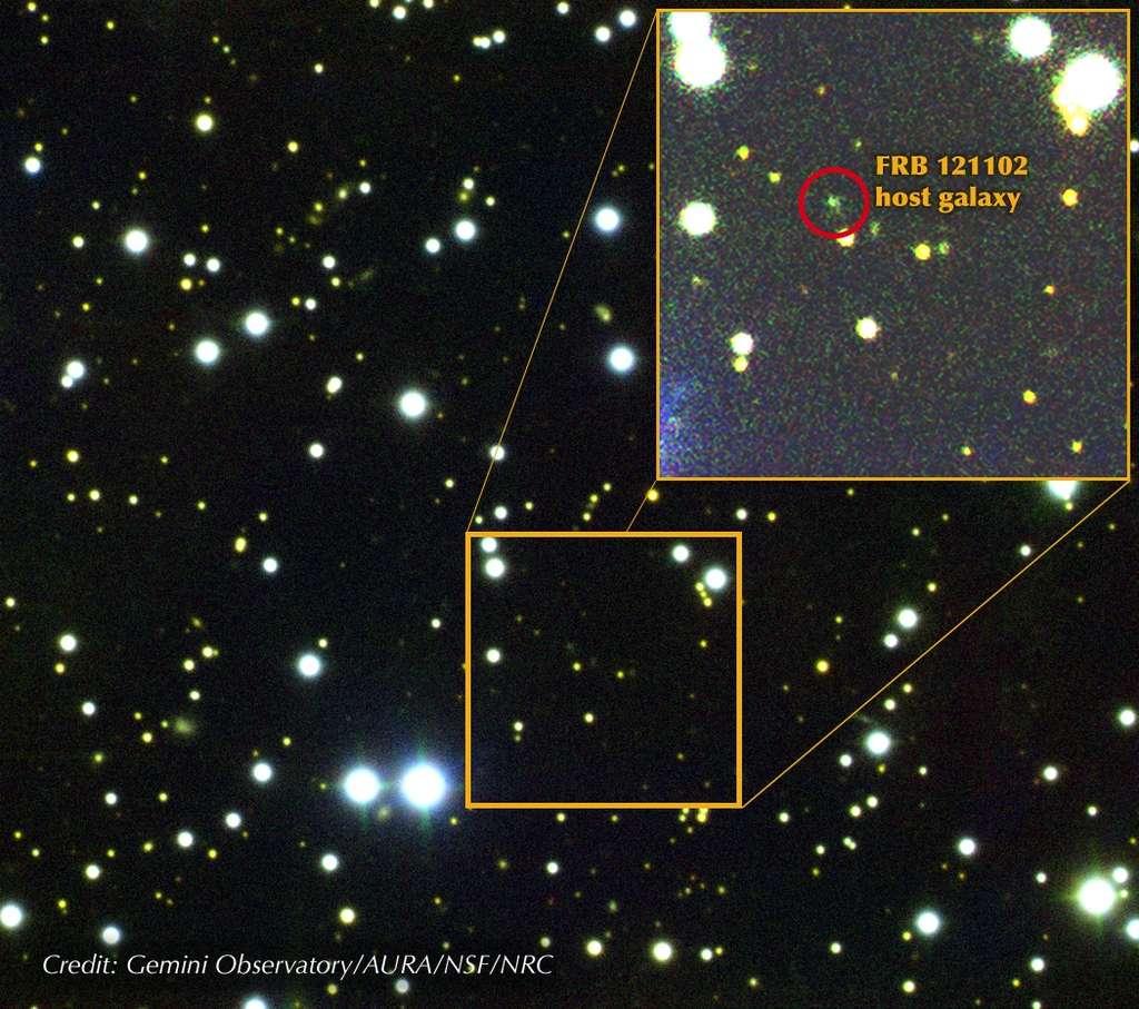 Le télescope Gemini North a finalement permis de débusquer dans le visible la contrepartie du sursaut radio rapide FRB 121102. © Gemini Observatory, AURA, NSF, NRC