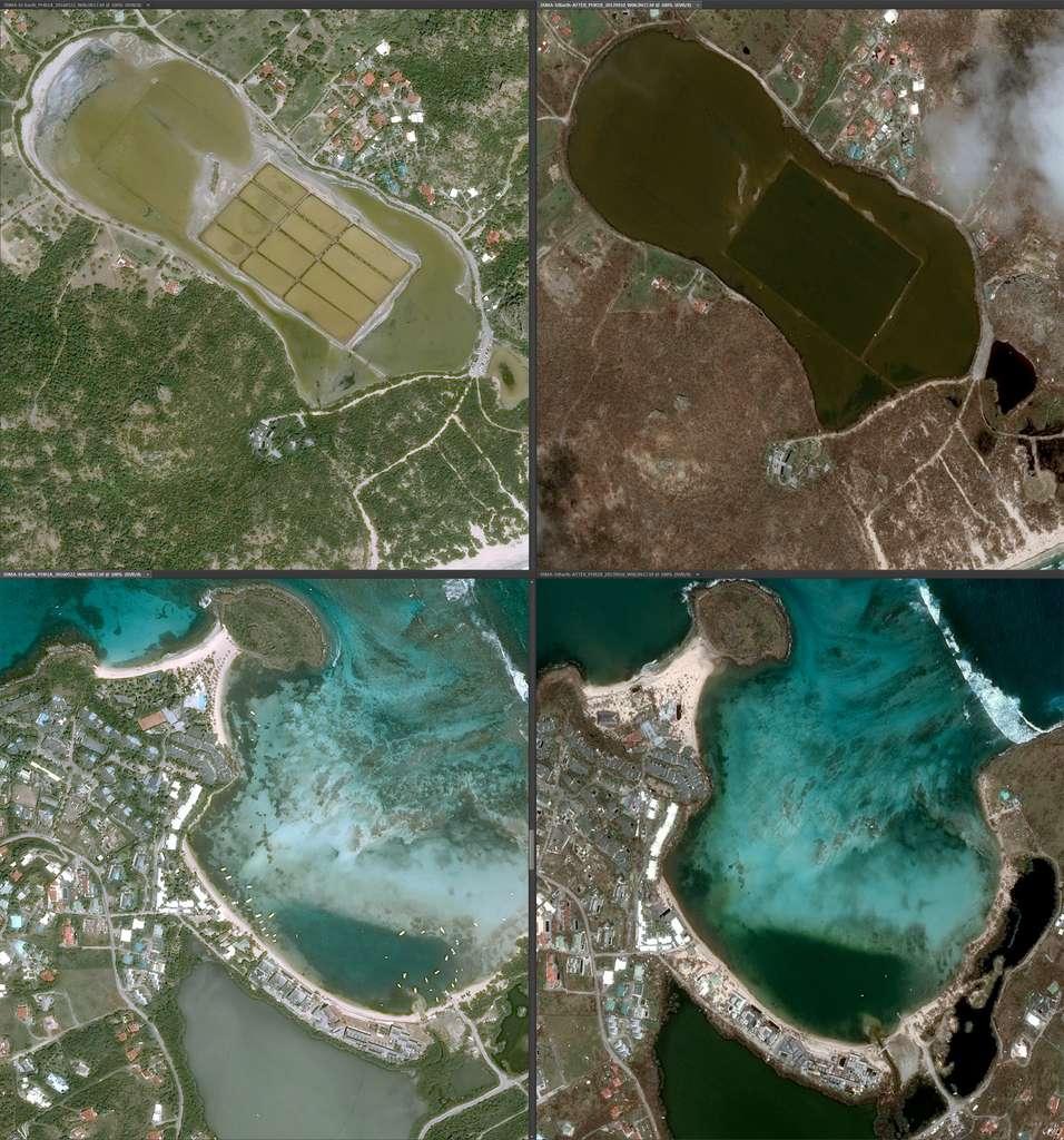 Vues satellites de Saint-Barthélemy avant et après sur les même zones. Attention, les images n'ont pas le même angle de prise de vue, d'où une déformation des plans. © Cnes 2017, distribution Airbus DS
