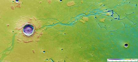 Vue générale orthochromatique de Hephaestus Fossae. Source Esa. Cliquer pour agrandir