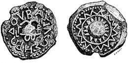 Pièce de monnaie en cuivre utilisée sous Hérode 1er. Crédit : Jewish Encyclopedia (1901-1906).