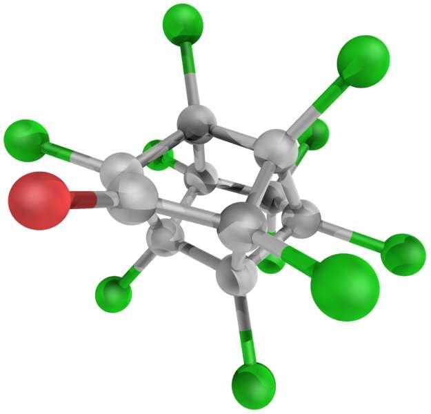 Le chlordécone, dont on voit ici la représentation de la molécule, est utilisé comme insecticide depuis 1976. Aux Antilles, il a été interdit en 1993 mais des problèmes de santé ont été ressentis bien après. © Yassine Mrabet, Wikipédia, DP