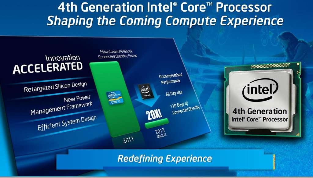 Lors de l'Intel Developer Forum qui s'est tenu à San Francisco, David Perlmutter, vice-président d'Intel, était fier d'annoncer qu'avec l'architecture Haswell, la firme est parvenue à diviser par 20 la consommation en mode veille par rapport à la seconde génération de processeurs. © Intel