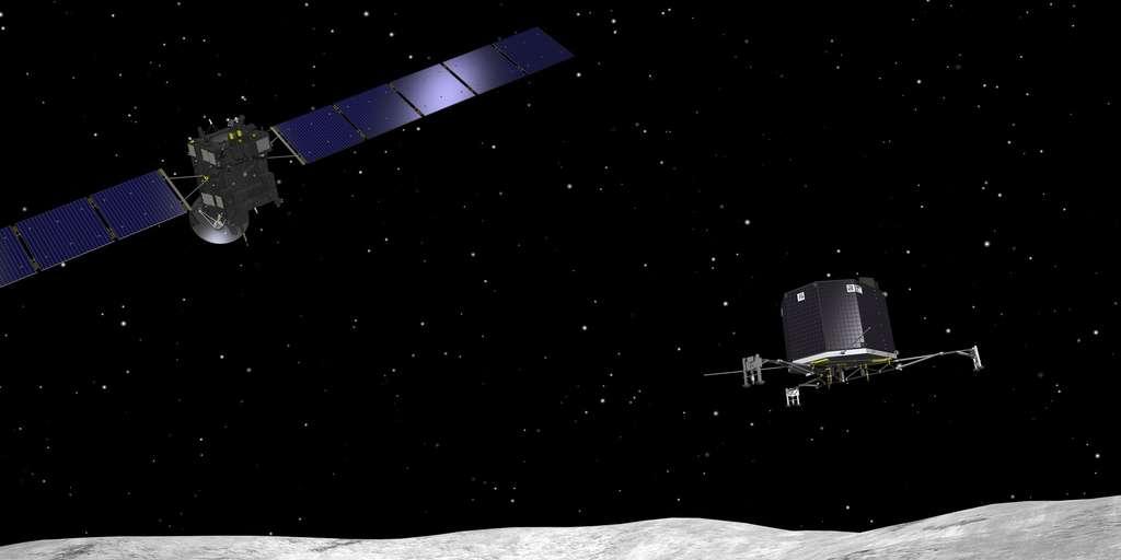 Vue d'artiste du largage de Philae qui se fera depuis une distance de seulement 2,5 kilomètres au-dessus de la surface de la comète. © Esa