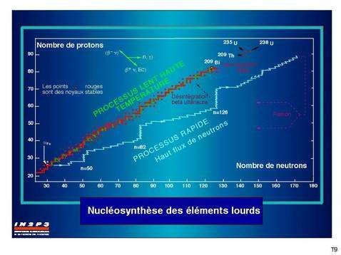 Les noyaux stables au delà du fer sont produits par additions rapides de neutron à partir des noyaux en rouges pour occuper la région à droite de ceux-ci puis se désintègrent par radioactivité bêta.