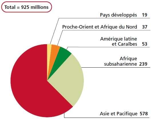 Répartition géographique des personnes sous-alimentées dans le monde en 2010. Les valeurs arrondies sont exprimées en millions. © FAO