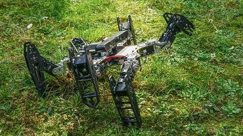Ce robot hexapode est utilisé dans nos expériences pour évaluer nos algorithmes. Il a ici la patte avant gauche cassée. Le robot embarque une batterie, un ordinateur sous GNU/Linux, et une caméra 3D. Grâce à un algorithme d'odométrie visuelle, la caméra 3D permet au robot d'évaluer sa vitesse de déplacement et donc d'évaluer sa performance sans dispositif externe. © Antoine Cully, UPMC 2015