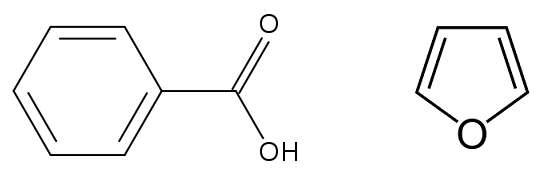 L'acide benzoïque (à gauche) et le furane (à droite) sont des composés aromatiques. © Wikimedia Commons