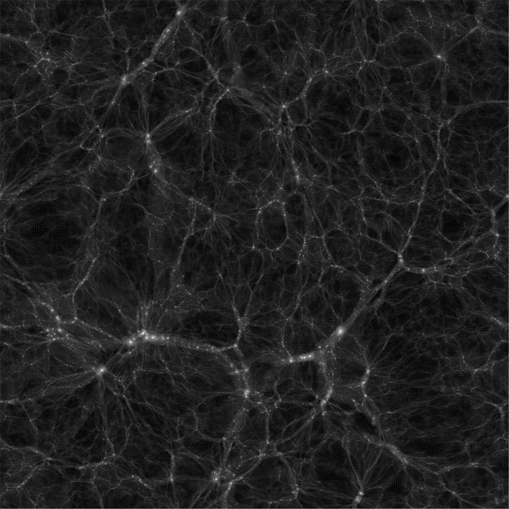 L'aspect local de l'univers observable calculé par DEUS dans le cadre du modèle cosmologique standard. On voit qu'après des milliards d'années d'évolution, les amas de galaxies se sont regroupés avec la matière noire en formant des filaments. © DEUS consortium, 2013