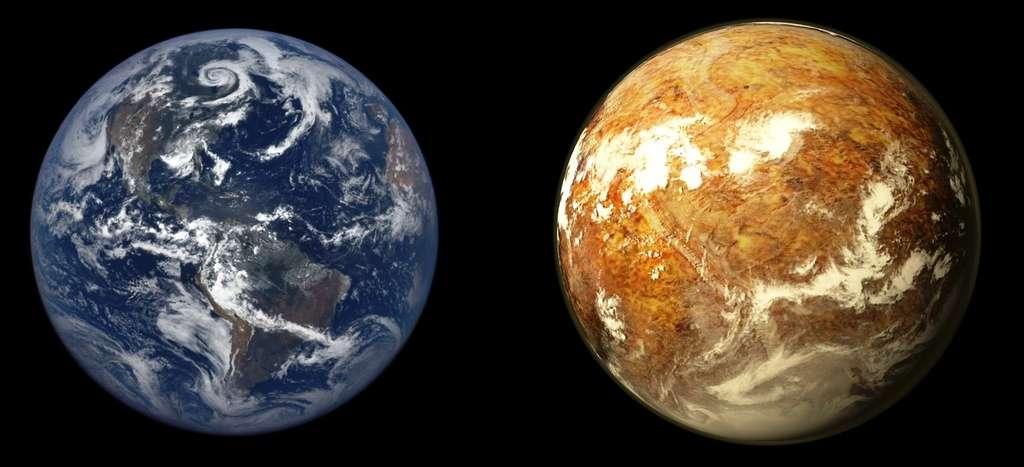 Une comparaison de l'aspect de la Terre avec celui de Proxima b, dans l'hypothèse où cette dernière est plutôt désertique, avec quelques mers peu profondes et une masse peu différente de celle de la Terre. © PHL, @ UPR Arecibo, Nasa Epic Team