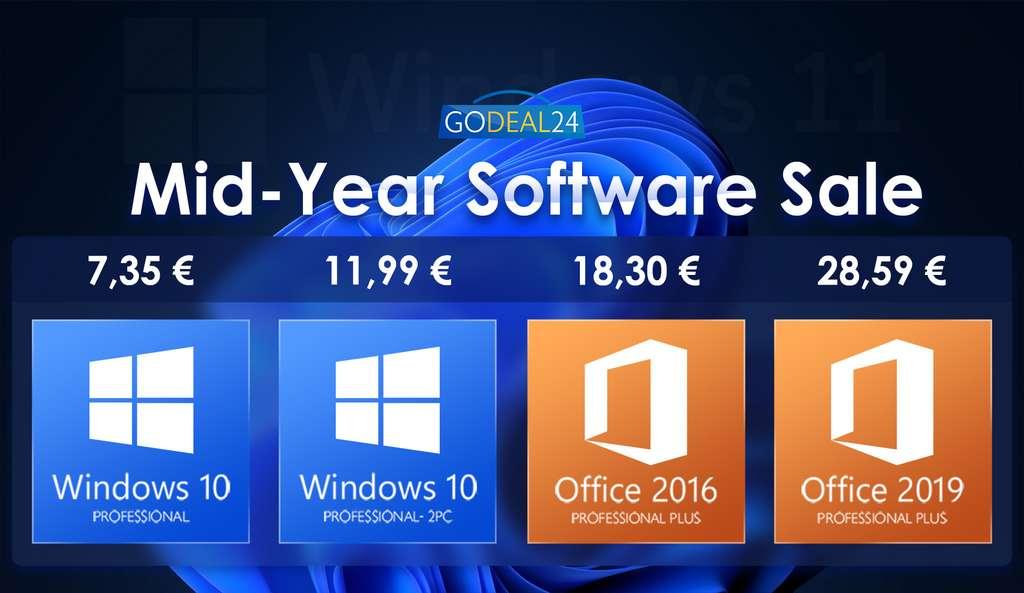Les soldes d'été sont lancées pour les logiciels : Windows 10, Office 2019...