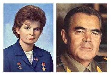 Valentina Terechkova et Adrian Nicolaïev, les premiers divorcés de l'espace. © RKK