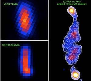 A droite, la première image de Lofar. Elle montre une galaxie radio et des jets de matière produits par le trou noir qui se trouve au centre. Elle est à comparer avec les deux images à gauche de la même source, réalisées par d'autres instruments dans d'autres fréquences. © Van Weeren / Astron