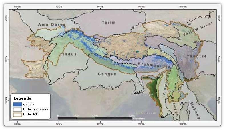 Les glaciers de la région de l'Hindu Kush-Himalaya sont au nombre de 54.000 et alimentent 10 fleuves majeurs. © Icimod 2011