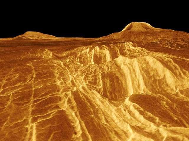 Le plus haut volcan sur Vénus, Maat Mons, culmine à plus de 8.000 mètres. © Nasa