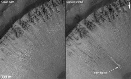 Cliquer pour agrandir. Ces images prises au-dessus de la région de Centauri Montes sur Mars montrent elles aussi un écoulement récent. Crédit : Nasa/JPL/Malin Space Science Systems