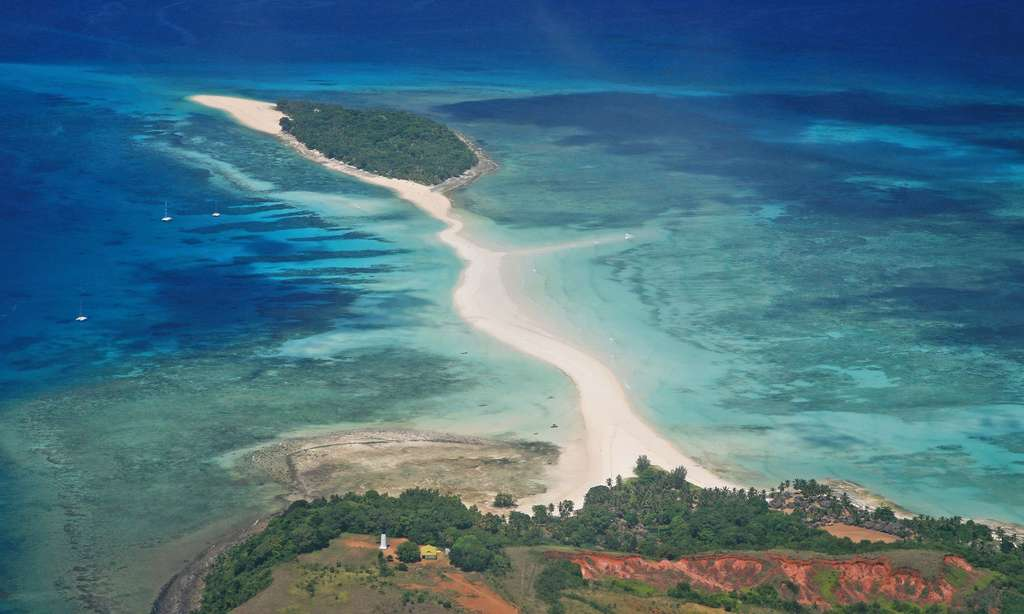 Vue aérienne de Nosy Iranja, Madagascar