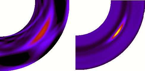 Figure 10 : simulation hydrodynamique à deux phases (gaz et solide) montrant l'évolution du gaz et des particules solides dans un disque qui génère des tourbillons persistants (Inaba et Barge, 2006). Les particules ont un diamètre de 3 cm. La figure de gauche montre le tourbillon de gaz (anticyclone) ; la figure de droite indique l'évolution de la composante solide. Les particules sont capturées par le tourbillon et tendent à se concentrer vers son centre (œil de l'anticyclone). La figure montre un seul cadran de l'anneau simulé. © DR