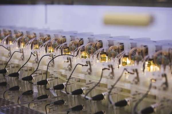 Gros plan sur l'installation de génie génétique grâce à laquelle Ginkgo Bioworks espère extraire des fragrances de plantes disparues grâce à des ADN greffés à des levures. © Ginkgo Bioworks