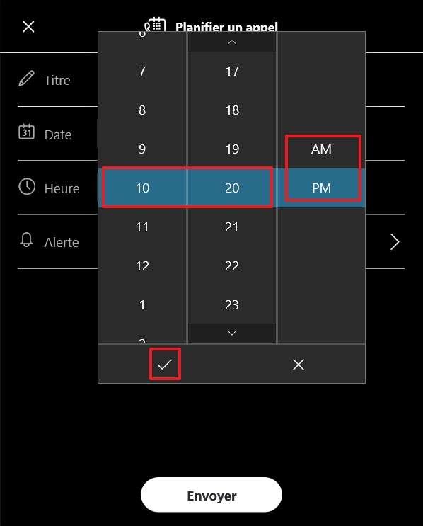 Définissez l'heure de l'appel. © Microsoft
