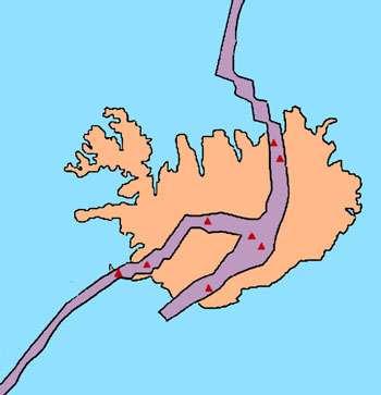 Représentation de la ride médio-atlantique au niveau de l'Islande. © DR