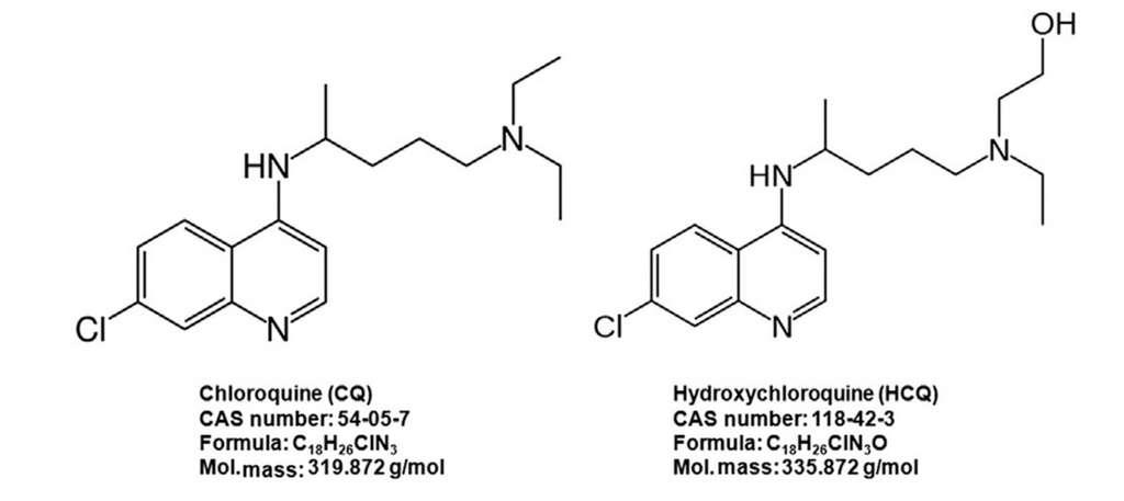 Structure chimique de la chloroquine à gauche et de l'hydroxychloroquine à droite. © Domaine public