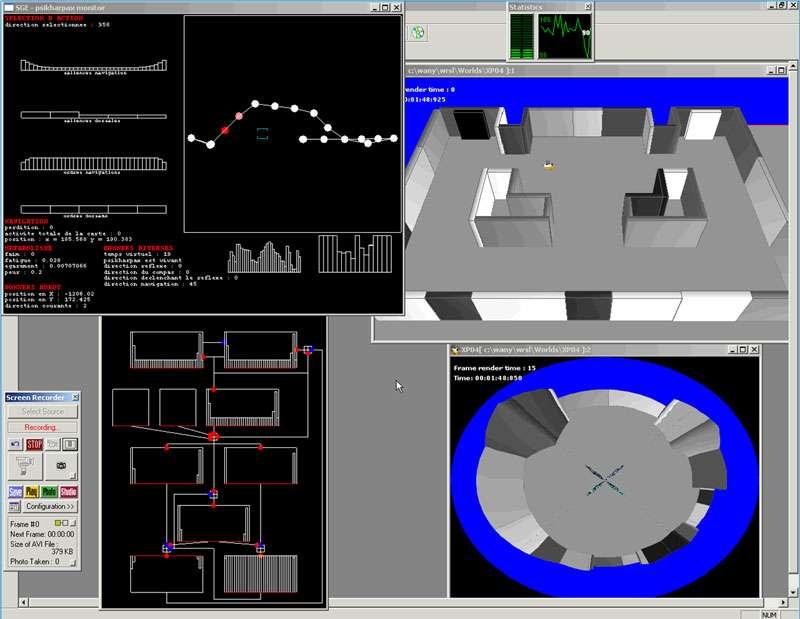 Simulations du robot construisant une carte mentale de l'environnement pendant l'exploration. Loïc Lachèze, Benoît Girard, Agnès Guillot. © ISIR/Lachèze Loïc