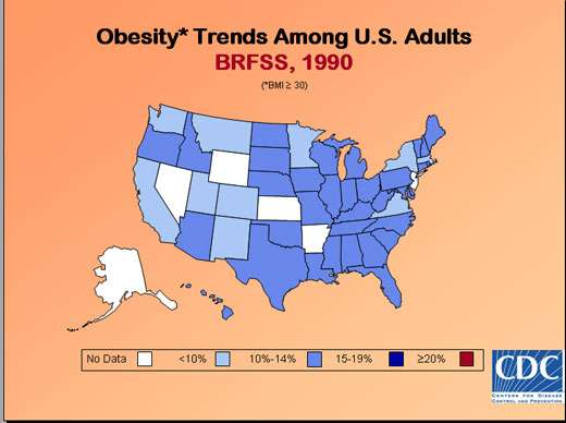 Taux d'obésité aux États-Unis en 1990.