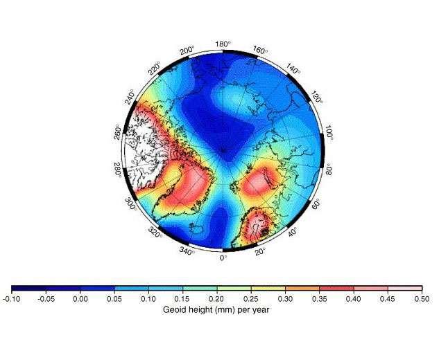 Changement du géoïde (en mm/an) provoqué par l'actuel rebond isostatique. © Ivins and James 2005(Antarctic Science)