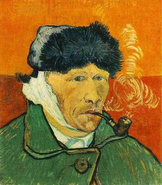 Autoportrait à l'oreille bandée (ou Homme à la pipe), 1889. © Van Gogh, Domaine public, Wikimedia Commons