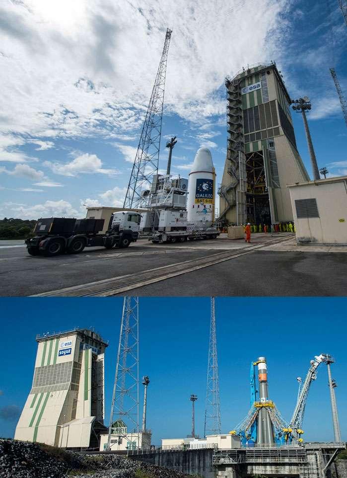 L'installation des satellites sur le lanceur. Soyouz est d'abord placé sur son pas de tir. L'assemblage de la coiffe, qui abrite les charges utiles, se fait à l'intérieur du portique climatisé avancé jusqu'au lanceur. © Esa, Cnes, Arianespace, service optique CSG