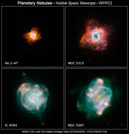 Nébuleuses planétaires à différents stades d'évolution.