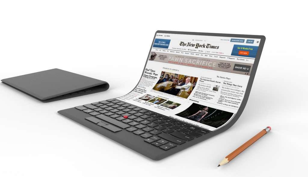 Il y a deux ans, Lenovo avait dévoilé un concept d'ordinateur portable à écran pliable. © Lenovo