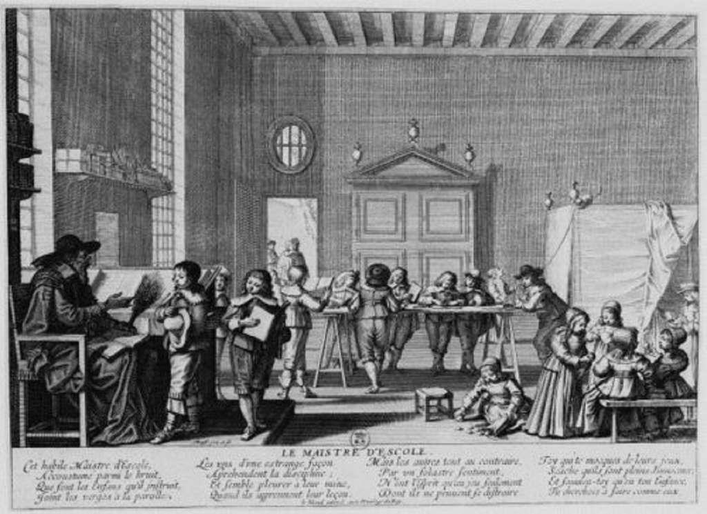 Le maître d'école d'Abraham Bosse, estampe de 1638 © BnF, Département des Estampes et de la Photographie, ED-30 (A,4)-FOL