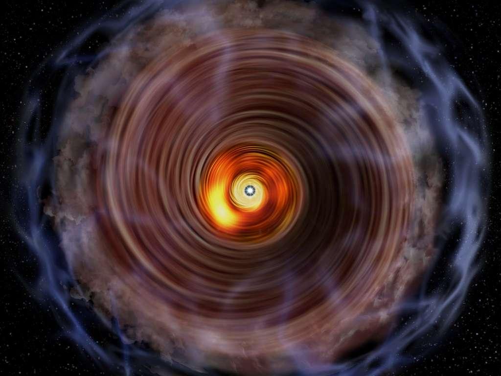 Vue d'artiste du disque et de l'enveloppe gazeuses autour de l'énorme proto-étoile G353.273 + 0.641. © National Astronomical Observatory of Japan