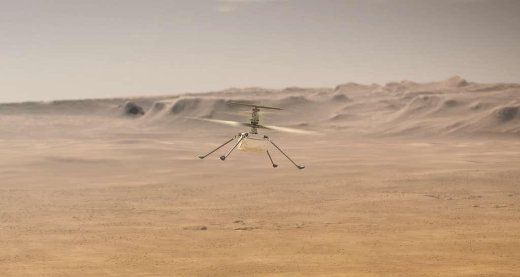 Ingenuity dans les airs (illustration). © Nasa, JPL-Caltech