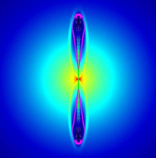 Une simulation montre à quoi pourraient ressembler les premières supernovae : au lieu d'être sphériques, comme de nombreux scientifiques l'ont supposé, ces brillantes explosions auraient pu être accompagnées de jets asymétriques projetant des éléments lourds tels que le zinc (points verts) dans l'univers primitif. Cette simulation montre la forme de la supernova 50 secondes après l'explosion initiale. © Mélanie Gonick